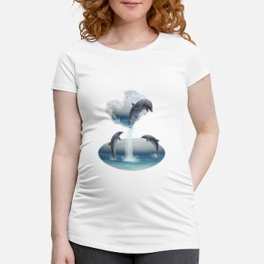 Aquatic The Heart From The Dolphins - Schwangerschafts-T-Shirt