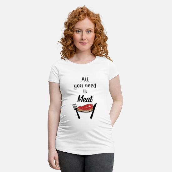 Bbq T-Shirts - Meat, meat - Maternity T-Shirt white