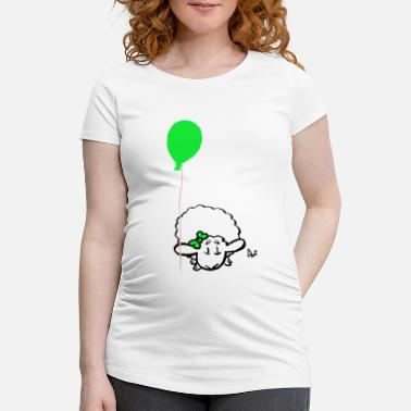 Speech Balloon Baby Lamb with balloon (green) - Maternity T-Shirt
