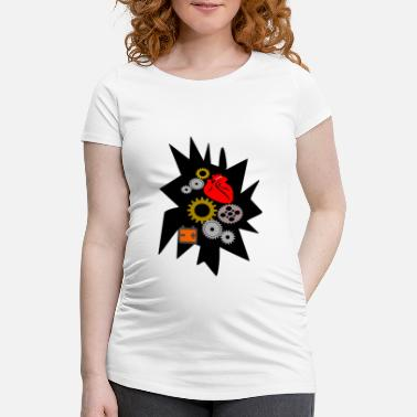 Fortyfive mechanical heart - Maternity T-Shirt