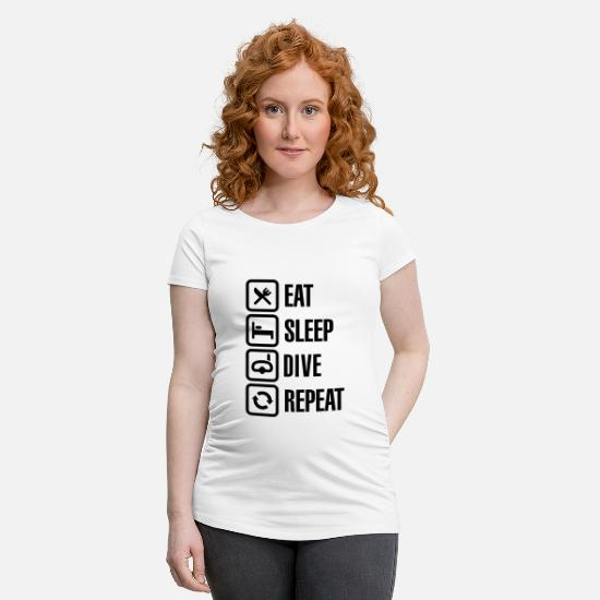 Shark T-Shirts - Eat Sleep Dive Repeat - Maternity T-Shirt white