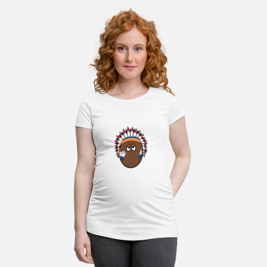 Easter T-Shirts - Friendly Indian chief in egg shape - Maternity T-Shirt white