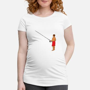 Shirtless Man shirtless while fishing - Women's Pregnancy T-Shirt