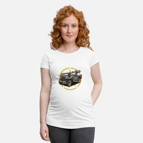 Army T-Shirts - Off-road military vehicle - Maternity T-Shirt white