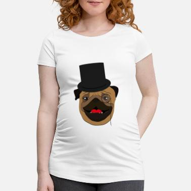 Wealthy The wealthy Pug - gift idea, monocle - Maternity T-Shirt