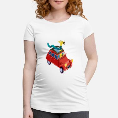 For Kids Giraffe in the car - Maternity T-Shirt