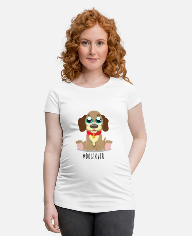 Sweet Dog T-Shirts - #Dog Lover - Maternity T-Shirt white