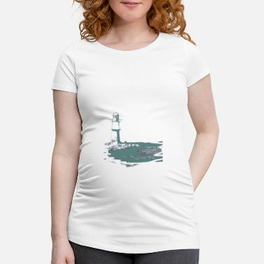 Baltic Sea Lighthouse, sea, beach, coast, design, gift, cool, - Maternity T-Shirt