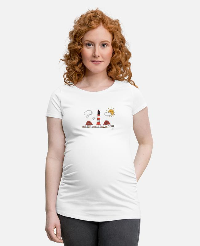 Vacation T-Shirts - Westerhever lighthouse drawing - Maternity T-Shirt white