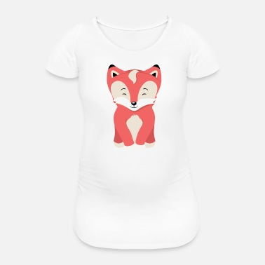 Childrens Book Illustration Cute fox puppy on white - Women's Pregnancy T-Shirt