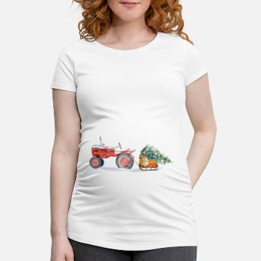Tree Tractor with sleigh and Christmas tree - Maternity T-Shirt