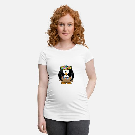 Gift Idea T-Shirts - Hawaii penguin in summer robe - Maternity T-Shirt white
