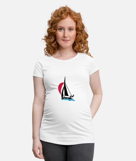 Water T-Shirts - Dinghy with spinnaker - Maternity T-Shirt white