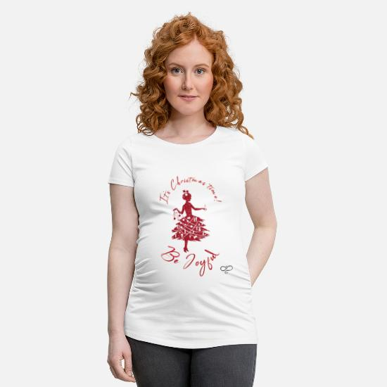 Typographie T-shirts - It's Christmas time! Be joyful by A.L.I. - T-shirt de grossesse blanc