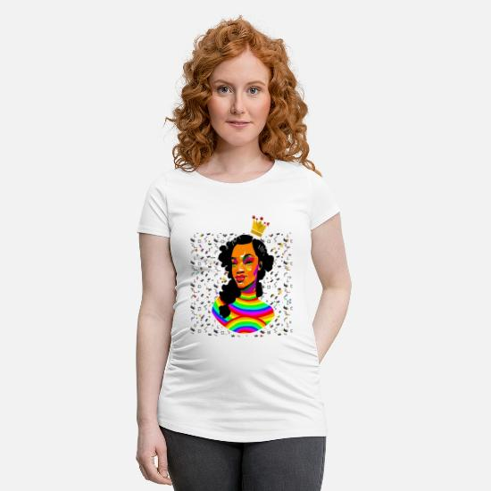 Proud T-Shirts - Black Beauty Curly Natural Hair Queen Tshirt - Maternity T-Shirt white