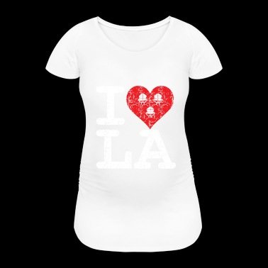 I love LA! white with ribbons scratcy look - Women's Pregnancy T-Shirt
