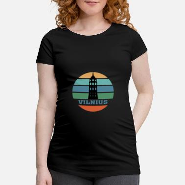 Born In Vilnius City Skyline Lithuania Landmark - Maternity T-Shirt