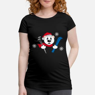 Girlie Teddy bear with skis and snow stars (Polar Bear) - Maternity T-Shirt