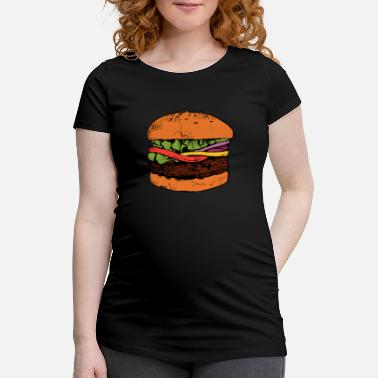 Burger Hamburger Cheeseburger Faim de restauration rapide - T-shirt de grossesse
