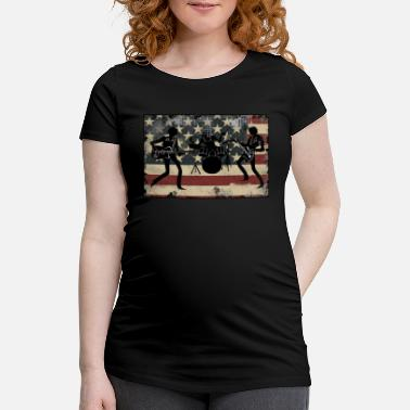 Military American Flag Vintage Rock and Roll Band Gift for Men and Women - Maternity T-Shirt