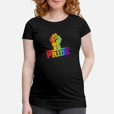 Fist LGBTQ Faut with rainbow colors - Maternity T-Shirt