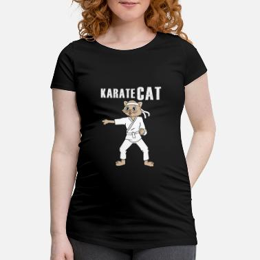 Cat Fighting Karate cat is fighting for food - Women's Pregnancy T-Shirt