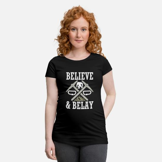 Climbing T-Shirts - Believe And Belay Sasquatch Rock Climbing - Maternity T-Shirt black