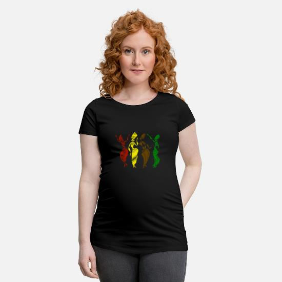 Gift Idea T-Shirts - African women dance in colorful robes - Maternity T-Shirt black