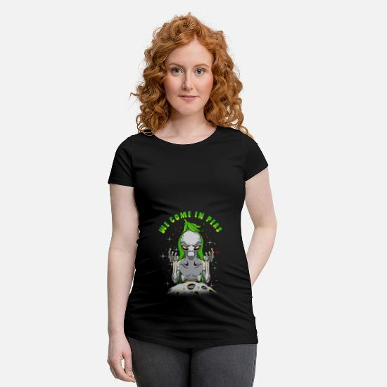 Gris T-shirts - Alien Aliens We Come In Peas Gift - T-shirt de grossesse noir