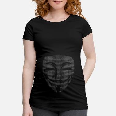 Guy Fawkes Mask Binary - Women's Pregnancy T-Shirt