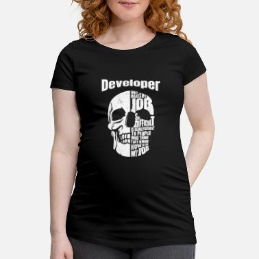 Skull Developer and Skull Entwickler Totenkopf T-Shirt - Maglietta premaman