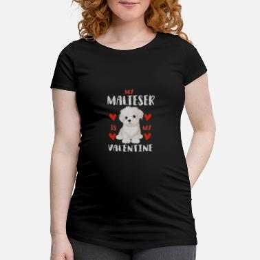 Beady Eyes Sweet Maltese White Puppy for Valentine's Day - Maternity T-Shirt