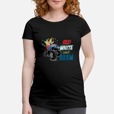 Red White and Boom - Monster Mud Truck Offroad - Maternity T-Shirt