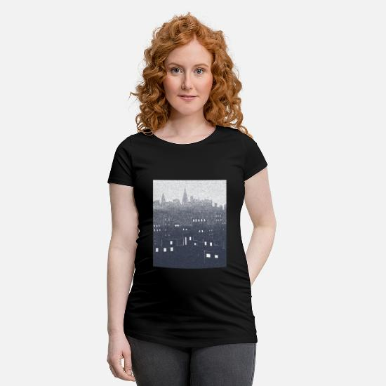 Ville T-shirts - citysnow rectangle - T-shirt de grossesse noir