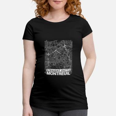 Geek Straight Outta Montreuil city map and streets - Maternity T-Shirt