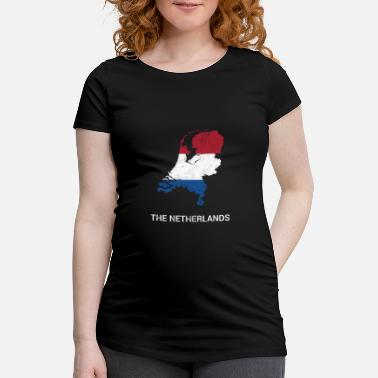 Nederland Netherlands ( Nederland ) country map & flag - Zwangerschaps T-shirt