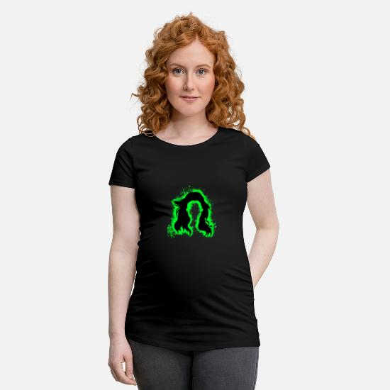 Haired T-Shirts - Hair hair green and black outline - Maternity T-Shirt black