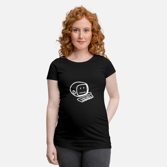 Computer T-Shirts - Computer Smiley Face (White) - Maternity T-Shirt black
