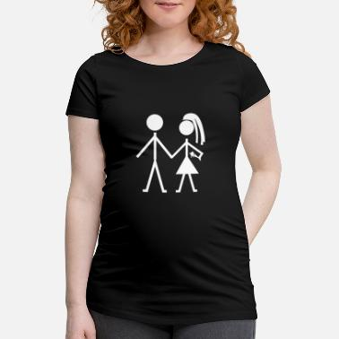 Stick Stick figure couple love partnership figure cute - Maternity T-Shirt
