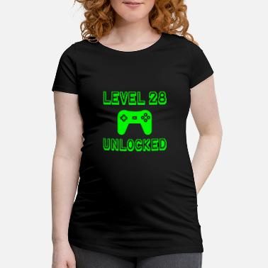 Old School Level 28 Unlocked Gamer 28th Birthday Gift Idea - Maternity T-Shirt