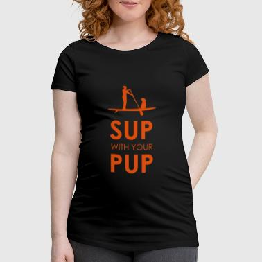 Sup with your Pup Stand Up Paddling Dog Paddle - Women's Pregnancy T-Shirt