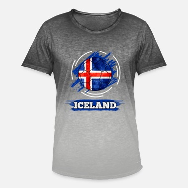 Flag Of Iceland Country Flag Iceland / Iceland - Men's T-Shirt with colour gradients