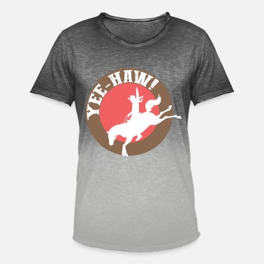 Yee-haw Western Cowboy western riding western horse - Men's T-Shirt with colour gradients
