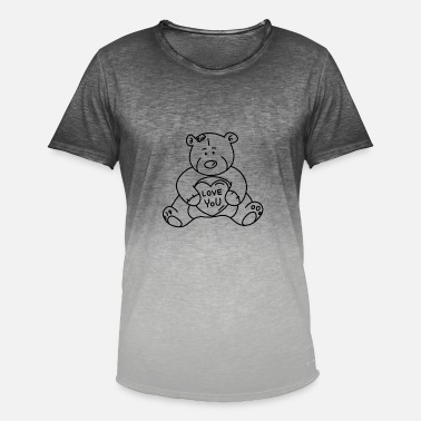 Gay Teddy Valentines Day Dear Bear Teddy i Love gay bear heart - Men's T-Shirt with colour gradients
