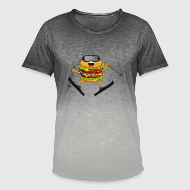 Skiing hamburger - Men's T-Shirt with colour gradients