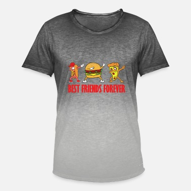 Takeaway Dabbing Dab Hot Dog Burger Pizza Fast Food Takeaway - Men's T-Shirt with colour gradients