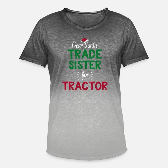 Tractor T-Shirts - Kids Trade With Santa Funny Christmas Tractor Gift - Men's Colour Gradient T-Shirt dip dye grey