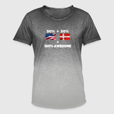 Danish Flag Half Danish Half American Totally Awesome - Men's T-Shirt with colour gradients