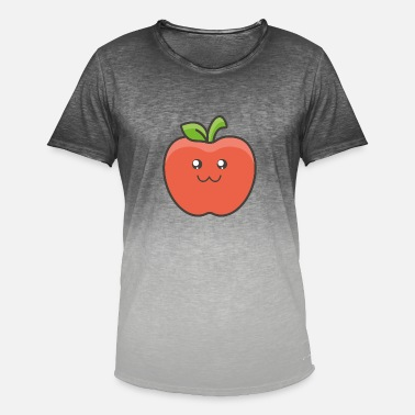 Gezicht Apple Fruit Emoji Gift Sweet Smile Holiday - Mannen T-shirt met kleurverloop