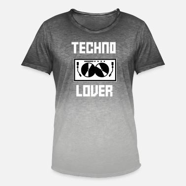 I Love Techno TECHNO LOVER - T-skjorte med fargegradering for menn
